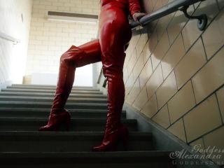 Goddess Alexandra Snow  Red Catsuit in Stairwell Photoshoot