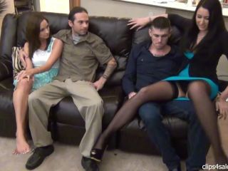 Bratty Babes Own You – Sneaky Movie Night Footjob By Best friends Wife-Husband Unaware