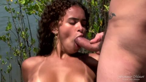 Interracial double pration on the banks of the river