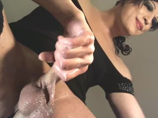 Gorgeous mature Italian CD strokes her cock and rides a dildo