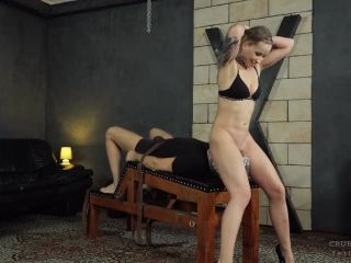 Cruel Anette – Mistress Anette – Bare pussy on his plastic covered face – Face Sitting