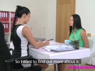 Busty casting agent seduces shy beauty girl