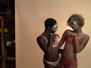 Ebony models lick lesbian sy during photo shoot