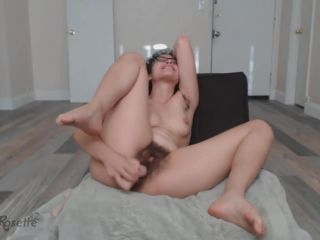 Rose fucks their hairy sy with dildos to squirt and pours oil on big ass
