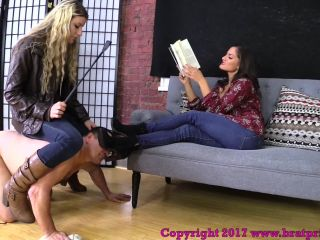 [Femdom 2018] Brat Princess 2  Chichi and Chloe  House Cleaner Ridden Beaten with Crop and Forced to Lick Boots (Part 2)