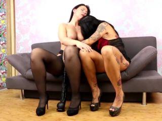 Charlies Angel gets huge black dildo in her big pussy