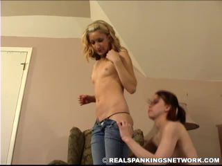 Naked Sarah is Paddled by Naked Kailee