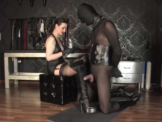 GERMAN FEMDOM Lady Victoria Valente  Handjob: Cum on my overknee leather boots gagged slave pig. Starring Lady Victoria Valente