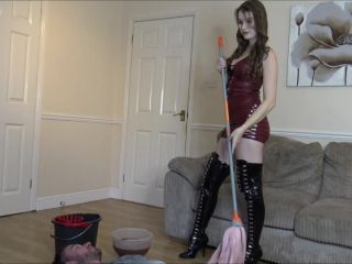 Slave Gets Dirty Smelly Mop In His Face