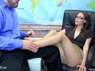 ms. wolff dominates the principal with her pantyhose  primal's footjobs  jasmine wolff