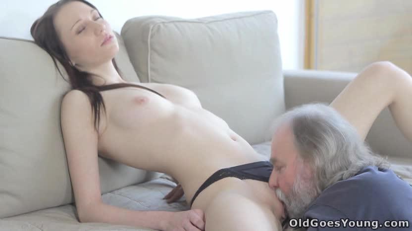Old Man Sucks Teen Tits