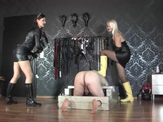 Double Domination – GERMAN FEMDOM Lady Victoria Valente – Divine Mistress Heather and Victoria Valente: Whipping the slave ass in leather and Hunter wellingtons boots