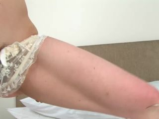 Hairy pale Maria fingers her hairy pussy.