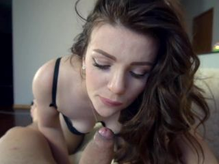 Drooling blowjob and footjob in stockings