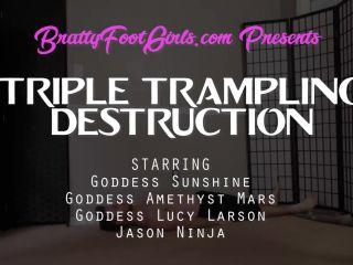 Online porn Bratty Foot Girls - Goddess Sunshine, Amethyst Mars, Lucy Larson - Triple Trampling Destruction