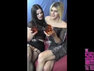 Sissy institute graduates escorts Nyxi Leon and Bailey Love drunk fuck