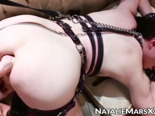 Wide anus of TS Natalie Mars pegged by Mistress and widened more