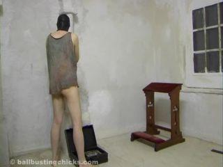 ballbustingchicks  her working slave get punished!  ball crush