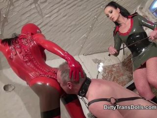 Gloves – Dirty Trans Dolls – Latex strap-on bitches Part 2 – Fetish Liza and Kylie Marilyn