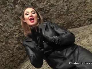 Porn online [Femdom 2018] Chateau-Cuir – Goddess Yasmin in full leather part 2 [boots, gloves, solo, coats_jackets, tease, femdom] femdom
