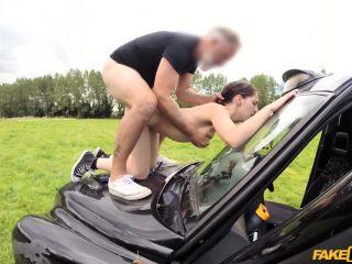 Olive skin brunette fucked on car