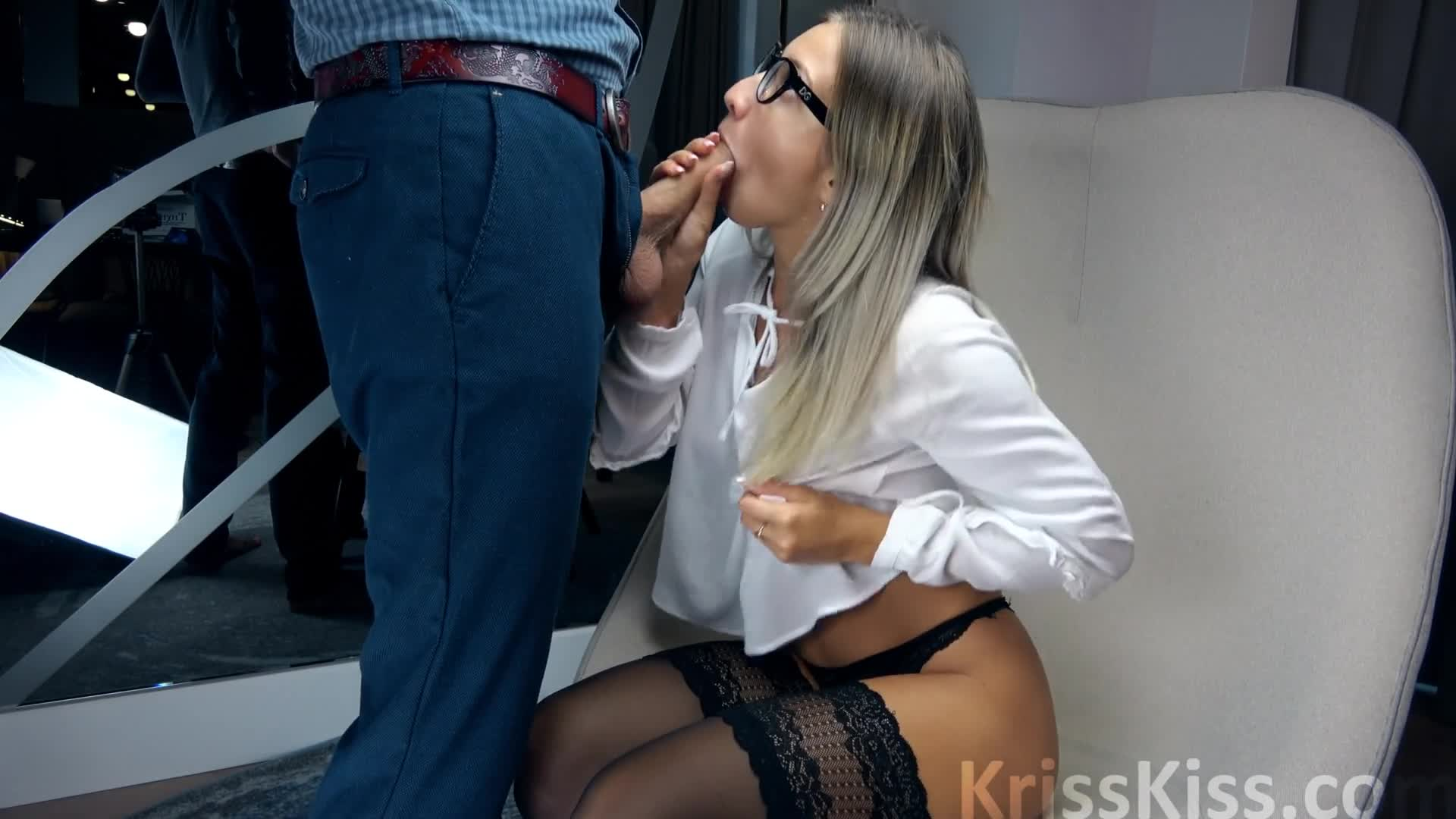 Blonde Handjob Cum Mouth