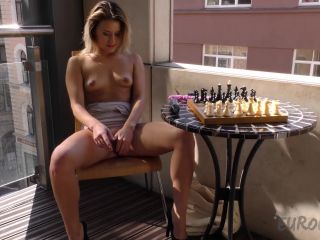 Bubbles on the balcony and first t masturbation outside in public
