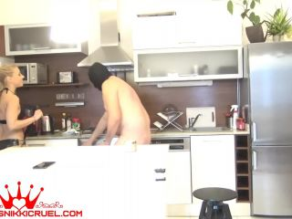 Anal Humiliation – Princess Nikki Cruel – Giant dildo up his ass first cam
