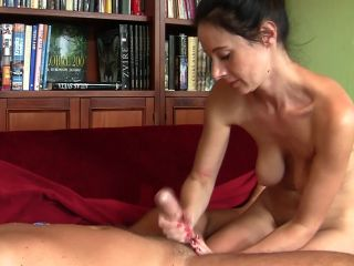Massaged and kneaded erected cock until he comes