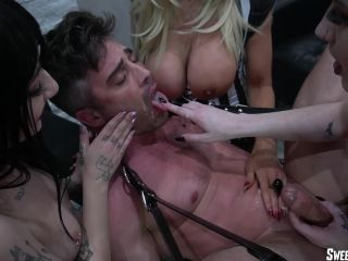 SweetFemdom presents Triple Team Ass Fuckers — Castration Squad. Starring Brittany Andrews, Charlotte Sartre and Lydia Black