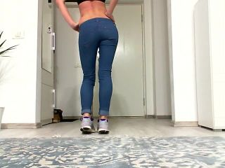Skinny brunette in tight jeans teasing you.Amateure solo