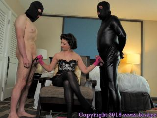 Duel Slave Cum Eating Training ends in Punishment Caning for One