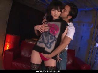 Megumi hka strips naked for a big japanese dick