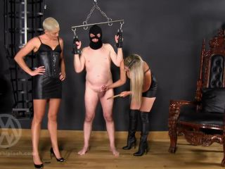 Cock Whipping – Mistress Nikki Whiplash – Cock whipped & Caned by Nikki & Hunteress WL1410