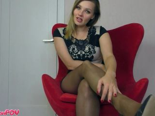 Pantyhose feet – Miss Honey Barefeet – An Easy Blackmail Game, Slowly Milking Your Credit Card Numbers One By One