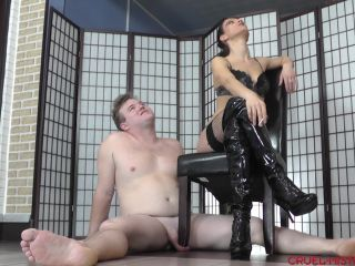 erotic dommes  mistress bella  eating two cigarettes  stomping