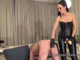 Queens Of Kink presents Fetish Liza & Lady Renee in Brutal Strap-on Training and Spitroast