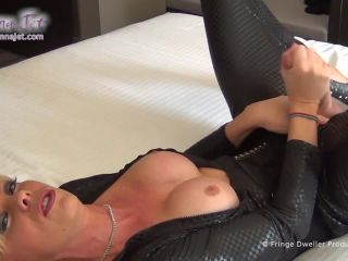 Glorious British shemale Joanna tease and stroke in catsuit