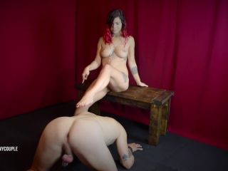 Chastity Slave gets Pegged until He Cums in Cage