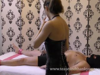 "Femdom – Tease And Thank You – ""MM Cameo During Chastity Maintenance"" by Kat – Mandy Marx, femdom trampling on handjob"