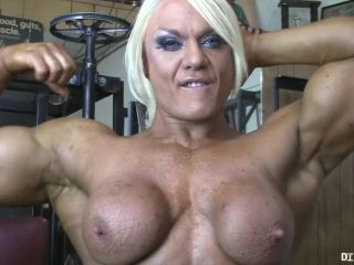 Naked Female Bodybuilder Porn Star Lisa Cross in the Gym