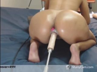 stocking feet fetish Beautiful Big Booty Latina getting Fucked by a Machine, brunette on creampie