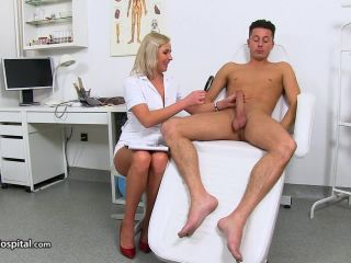 handjob - SpermHospital – Hot legs Euro MILF doctor Bruna gets cum on tits
