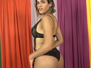 Big dick latina transsexual toys her cock and ass in solo masturbation(Shemale porn)