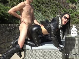 online video 6 'Horny leather couple outdoors part 2' of 'Chateau Cuir' studio, femdom bondage pegging on femdom porn