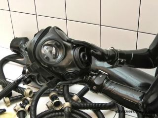 Black Latex Catsuit with Gasmask 1