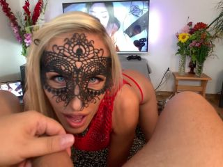 Saliva Bunny - He Cums twice after Intense Deepthroat & Facefuck Session with Thin Blonde  - porn model - pov blonde double