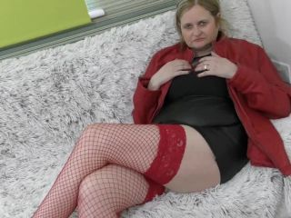 British curvy housewife playing with her toys