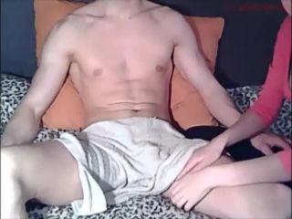Young stud is cocksucked by pretty gf and stay cool