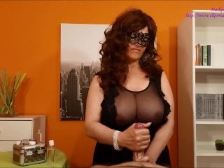 Masked Eva – lubricants Demonstration on handjob porn